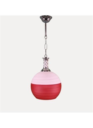 Şenay Aydınlatma Tekli Opal Cam Avize Sarkıt-Pembe Kırmızı Renkli